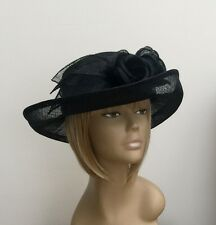 New Black Women Sinamay Formal Wedding Hat Mother Of The Bride/Groom Ascot Races