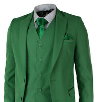 Mens Green 5 Ps Suit Blazer Trouser Tie & Hankie Party Wedding Prom Tailored Fit