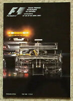 SPANISH GRAND PRIX FORMULA ONE F1 2001 CATALUNYA Official Programme