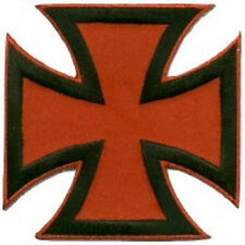 IRON CROSS BLACK ON RED EMBROIDERED IRON ON BIKER PATCH