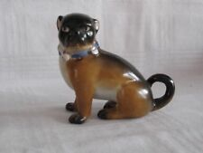 Antique 1800s Dresden German Porcelain Male PUG Dog Bell Collar