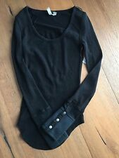 NWT Free People Sunnie Valley Moto Snap Cuff Thermal Top Shirt  Black L