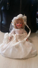 Antique / VTG Hand Painted Composition Doll A Bride In Her Wedding Dress
