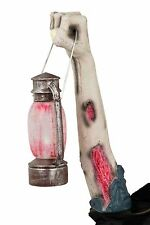 LIGHT UP ZOMBIE ARM WITH LANTERN HALLOWEEN PROP WALL DECORATION