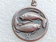 Vintage Sterling Silver Pisces Fish Zodiac Sign Pendant necklace 925 FB 835