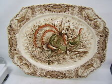 "Johnson Bros Wild Turkeys Native American Windsor Ware 20"" Platter Stunning"