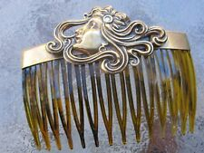 Vintage Hair Comb Lady Breeze Anitqued Brass Faux Shell Comb  Made in USA