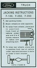 1968 69 70 71 72  FORD F-100, F-250, F-350  JACK INSTRUCTIONS