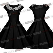 Women's Vintage 1940'S Style Lace Collar Retro Swing Evening Party Dresses Red