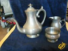 WOODBURY PEWTER TEAPOT/COFFEEPOT WITH SUGAR AND CREAMER
