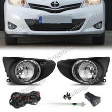 For 2012-2014 Toyota Yaris 3D/5D Hatchback Clear Fog Lamps Bumper Lights+Switch