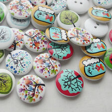 Cute 50pcs Tree Painting Wood Buttons 20mm Sewing Craft Mix Lots Wholesales