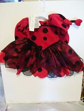 GIRLS CHILD 6 MTS TODDLERS RED BLACK LADY BUG TRICK OR TREAT HALLOWEEN COSTUME