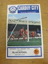 31/01/1970 Cardiff City v Blackpool  (Marked On Back). Item in very good conditi