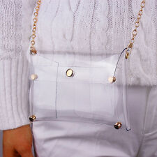 Clear Mini Envelope Clutch PVC Vinyl Plastic Purse Bag Handbag White Transparent