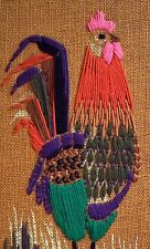 """New Embroidered Rooster Wall Decor, Mounted on Red-Orange Wood 21"""" Tall"""