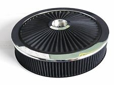 SUPA FLOW AIR CLEANER BLACK CHROME 14 X 3  5 1/8 INCH HOLE RESESSED DROP BASE