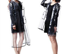 Women's Girls Men Black Vinyl Transparent Raincoat Runway Fation Clear Rain Coat