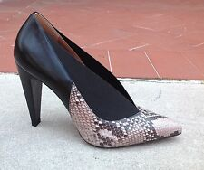 Max Mara Women's Black Leather Snakeskin Pumps Heels Shoes Size 9 (39) NEW