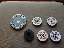 5- 50 Foot Super   8 mm Plastic Film Reels & One 5; can and Reel