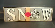 Inspirational Blocks Hallmark SNOW Wooden Gray White Winter Holiday Sign