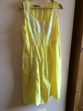 Laura Ashley Bright Yellow Dress Cotton Mid Length 14 Large L Embroidered Flower