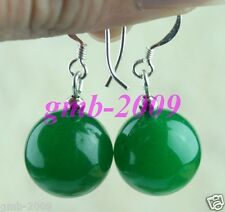 PRETTY 14MM NATURAL GREEN JADE ROUND BEADS 925 STERLING SILVER DANGLE EARRINGS