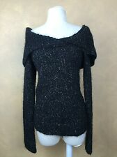Guess Off the Shoulder Sweater Black w Specs of Metallic & Colors w Mohair Sz M