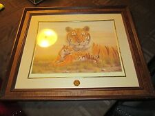 Franklin Mint Smithsonian Bengal Tiger Limited Edition Framed Print 25x22