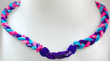 "NEW 20"" Custom Clasp Braided Sports Purple Light Blue Pink Hot Tornado Necklace"