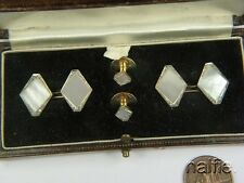 ANTIQUE 18K WHITE GOLD PEARL DIAMOND ART DECO BOXED CUFFLINKS & STUD SET