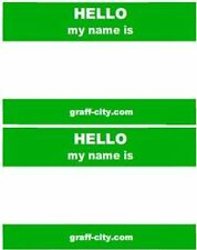 100 X HELLO MY NAME IS STICKERS - GREEN / WHITE - 8CM X 6CM