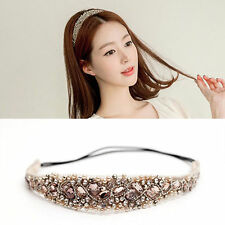 New Women Girls Lace Pearl Hairband Rhinestone Crystal Headband Head Piece