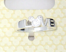 New✿Mickey Mouse Crystal Ring LOVE✿Sterling Silver .925✿Disney Authentic✿Size 7
