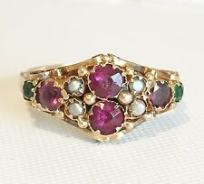 Antique Victorian 15ct Gold - Ruby Emerald & Pearl -Ladies Ring - Full Hallmark