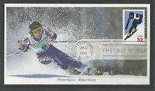# 3180 ALPINE SKIING-WINTER SPORTS, 1998 MYSTIC First Day Cover