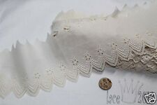 """14Yds Broderie Anglaise cotton eyelet lace trim 3.5""""(9cm) Ivory YH440 laceking"""