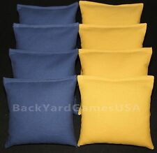 8 All Weather CORNHOLE BEAN BAGS Blue & Gold Yellow  plastic pellets Waterproof