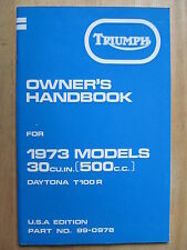 99-0978 TRIUMPH T100R 1973 DAYTONA USA RIDER OWNER INSTRUCTION MANUAL BOOK