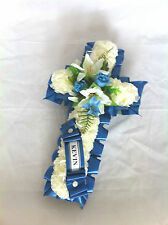 FATHERS DAY ARTIFICIAL SILK FUNERAL FLOWERS CROSS TRIBUTE FOR GRAVE OR MEMORIAL