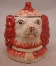 Staffordshire Pottery Figure - Dog Head Tobacco Jar with Lid