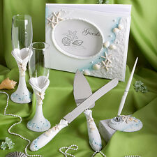 Beach Ocean Theme Wedding Reception Collection, Guest Book, Flutes, Serving Set