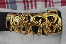 New Women Men Belt Buckle Shiny Gold Metal Classic Fashion Thai Elephants Thin
