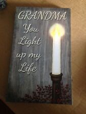 GRANDMA YOU LIGHT UP MY LIFE  canvas picture FLICKERING LED light  CANDLE Sign