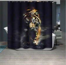 Shower Curtain Bathroom Cool Tiger Pattern Waterproof Fabric With 12 Hooks
