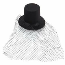 Black Mini Top Hat Veil Clips Party Lolita Cosplay Goth Fancy Dress CT