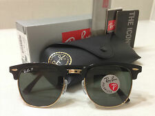 Ray Ban RB 3016 Clubmaster 901/58 POLARIZED Green Lens Black/Gold Frame 51mm-21m