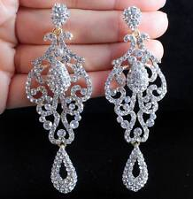 PAGEANT AUSTRIAN CRYSTAL RHINESTONE GOLD CHANDELIER DANGLE EARRINGS PROM E2090G