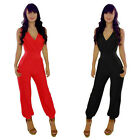 NEW Womens V Neck Strapless Sleeveless Slim Bodycon Jumpsuit Romper Clubwear