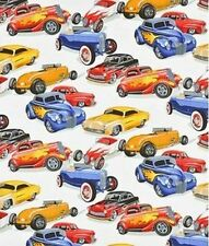 Alexander Henry Muscle Cars cream BTHY 1/2 By The Half Yard Fabric Cotton hot ro